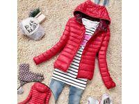 BNWT NEW Women Warm Red Thin Slim Hooded Coat Jacket UK 10 M