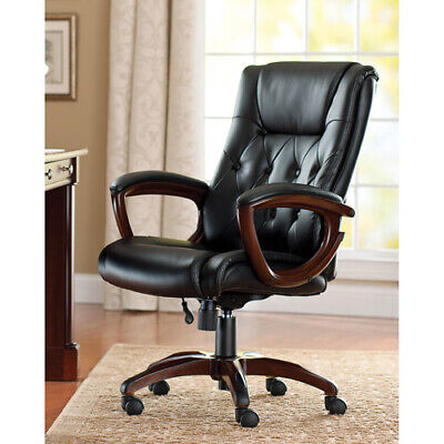 Heavy Duty Black Chair Leather Office Rolling Computer High Back Executive Desk