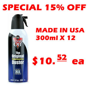 dust off the compressed air duster 12cans pc laptop fan cpu electronics cleaner ebay. Black Bedroom Furniture Sets. Home Design Ideas