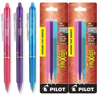 Pilot Frixion Clicker Erasable Gel Pens Fine Pt 0.7mm Asst Ink 2 Packs Refill