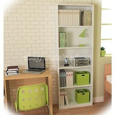 Bookcase White 5 Shelf Bookshelf Adjustable Furniture Wood Storage Shelving Book