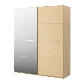 Ikea Pax Wardrobe with Sliding Doors - Mirrored/Birch