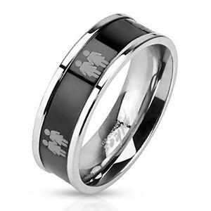 pride shack symbols on steel black ip ring promise