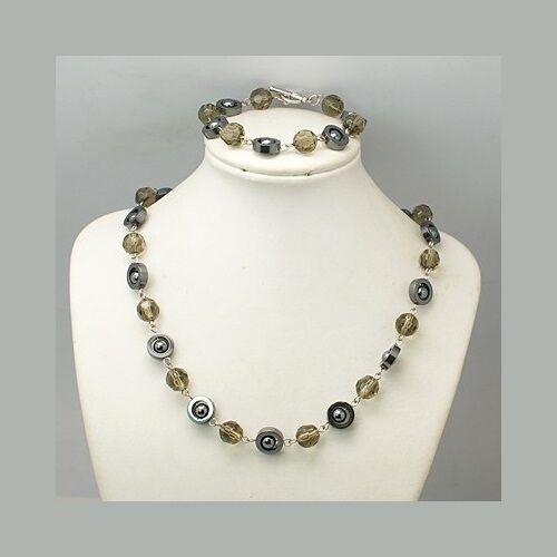 Wholesale Lot 6 Retro 1960s Mod Hematite & Amber Crystal Bracelet Necklace Sets