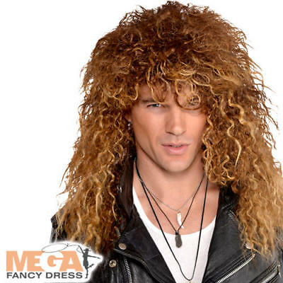 (Glam Rock Star Wig Mens Fancy Dress 80s Heavy Metal Punk Adult Costume Accessory)