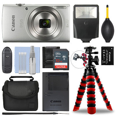 Canon IXUS 185 / ELPH 180 Digital Camera Silver + 32GB Deluxe Accessory Package for sale  Shipping to India