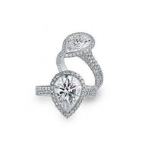 2.00 ct Pear Cut Tear Drop Diamond Halo Micro Pave Engagement Ring GIA H, VS2