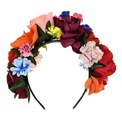 DreamLily Frida Kahlo Mexican Flower Crown Headband Party Costume Dia de Los Mue