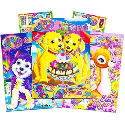 Lisa Frank Coloring Book and Stickers Super Set (3 Books with Over 30 Lisa Frank