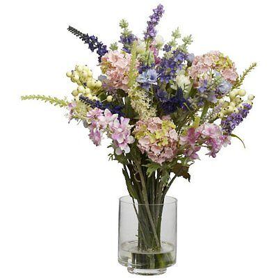 Nearly Natural 4760 Lavender & Hydrangea Silk Flower Arrangement ()
