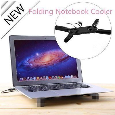 NEW Blue USB Folding 2 Fan Laptop Notebook Cooling Cooler Pad Computers/Tablets & Networking