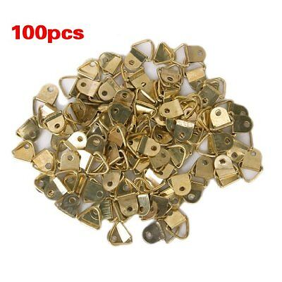 100Pcs Small Triangle D-Ring Picture Frame Hangers Single Hole with Screws New