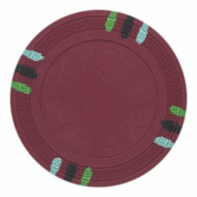 - 12 Stripe Non-Denominated 13.5g Poker Chips, Red Clay Composite, 50-pack
