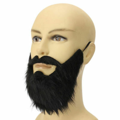 Black Fake Beard Mustache Men Stage Function Make Up Props Whiskers Halloween](Halloween Makeup Whiskers)