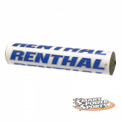 "Renthal SX Bar Pad -WHITE/BLUE- Crossbar Pad -10""- Foam Bar Pad MX Offroad Moto"