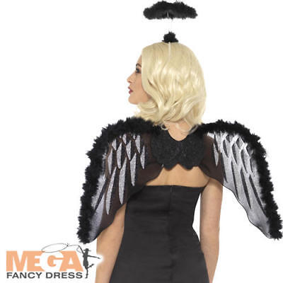 Fallen Dark Angel Wings & Halo Adult Fancy Dress Halloween Costume Accessory Set - Fallen Dark Angel Costume