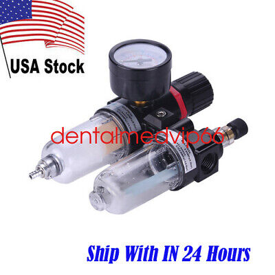 Air Filter Pressure Regulator Oilwater Separator W Trap Airbrush Compressor Us