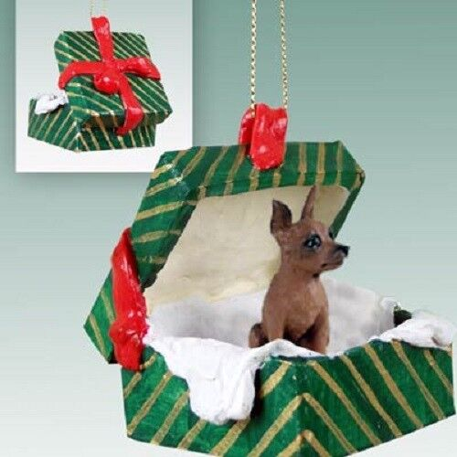 MIN PIN Christmas GREEN GIFT BOX Ornament HAND PAINTED FIGURINE red brown Dog