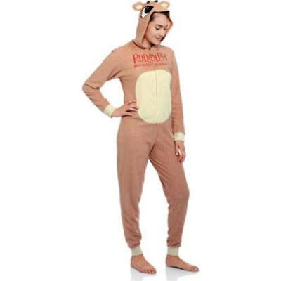 Hooded Rudolph Pjs Adult Union Suit Fleece Pajamas Christmas Reindeer Xl