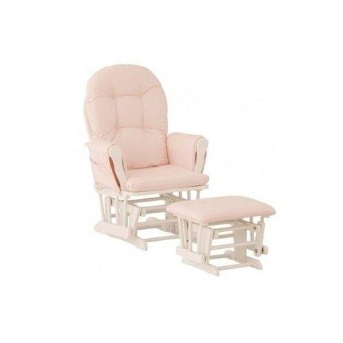 Baby Rocker Glider Nursery Rocking Chair and Nursing Ottoman Stool Pink White