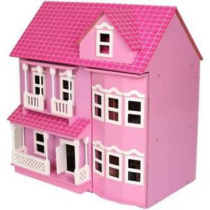Brand New Victorian Pink Wooden Dolls Doll House w/ 40 Furniture
