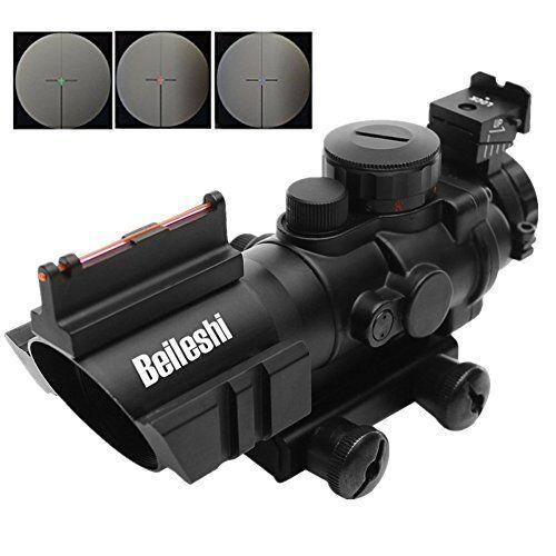 Rifle Scope with Top Fiber Optic Sight Weaver Slots Triple Illuminated 4 x 32mm
