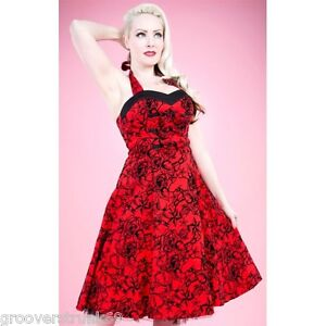 H-R-London-Red-Flocking-Long-Dress-Retro-Vintage-Pinup-Steampunk-Style