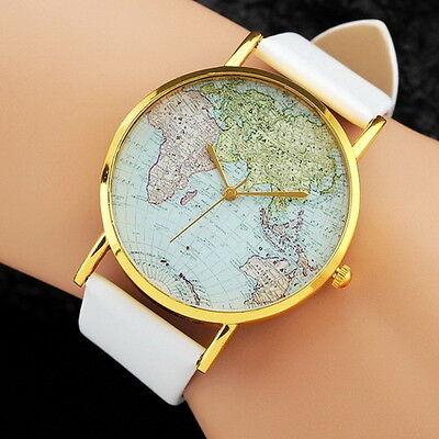 2018 Sale  Womens Watch World Map Pattern Pu Band Fashion Wrist Watch Cute Gift