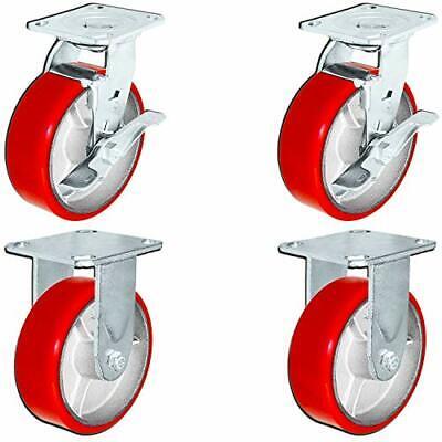 Casterhq Set Of 4 Heavy Duty Casters - 6 Inch X 2 Inch Red Polyurethane Tread On