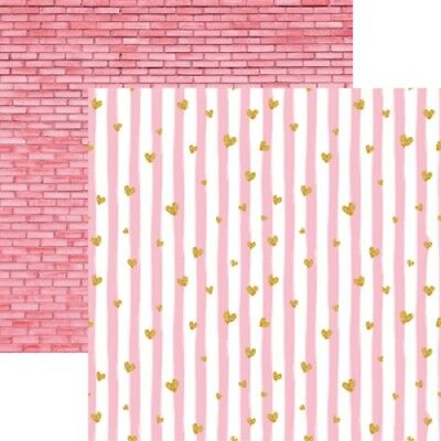 (Scrapbooking Crafts 12X12 DS Paper Oh Baby Girl Dream Pink Stripes Bricks Stars)
