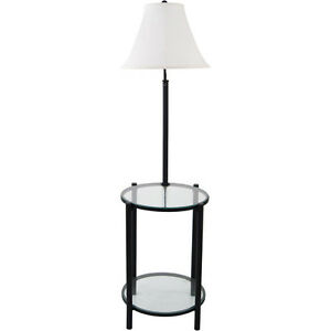 54 glass end table w built in 3 way floor lamp black w linen shade. Black Bedroom Furniture Sets. Home Design Ideas