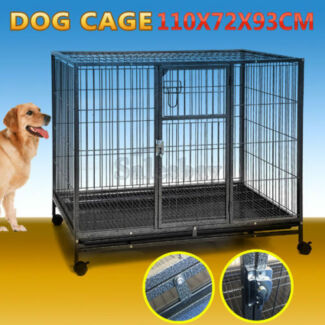 EX DISPLAY Portable Large Dog Collapsible Cage Kennel with Wheels