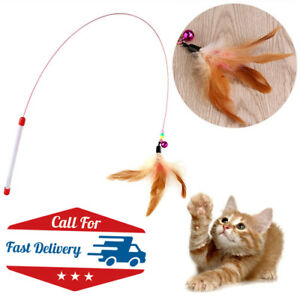 Fun Kitten Toy Cat Feather Bell Wand Teaser Rod Bead Play Pet Ball Toys UK Stock