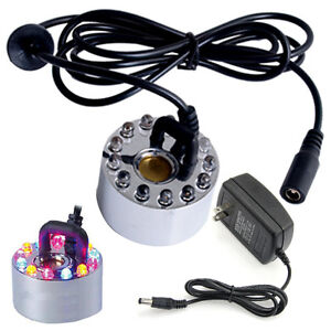 US PLUG Mist Maker Fogger Pond Water Fountain 12 LED light Ultrasonic Atomizer