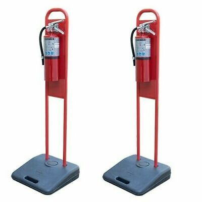 Lot Of 2-portable Fire Extinguisher Stands W2-new 10lb. Abc Fire Extinguishers