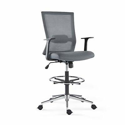Sunon Mid-back Mesh Drafting Chair Tall Office Chair Adjustable Foot Ring Grey