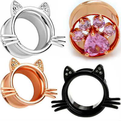 - 316L Surgical Steel Cat Ear Gauges Flesh Tunnels Ear Plugs Body Piercing PAIR