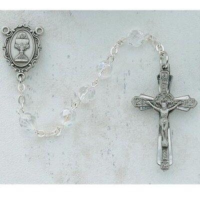 Mädchen Erste Kommunion Geschenk Rund ab Kristall Perlen Zinn Chalice Mitte ()