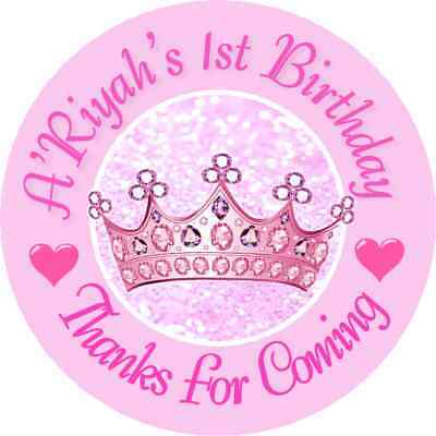 PINK PRINCESS CROWN TIARA BIRTHDAY ROUND PARTY STICKERS FAVORS ~ VARIOUS - Princess Tiara Favors