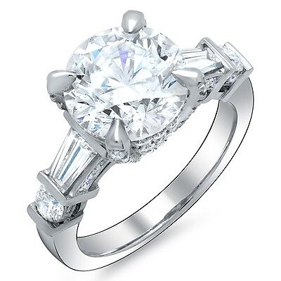 3.11 Ct. Round Brilliant Cut w/ Baguette Diamond Engagement Ring G,SI1 GIA 18K