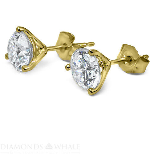 18k Yellow Gold Round Stud Diamond Earrings 0.7 Ct Vs1/d Wedding Enhanced