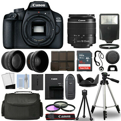 Canon EOS 4000D / Rebel T100 SLR Camera + 3 Lens Kit 18-55mm+ 16GB+ Flash & More