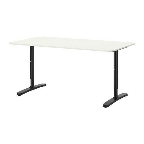 ikea white office desk. Ikea BEKANT Office Desk / Computer White Black 160cm X 80 Cm I
