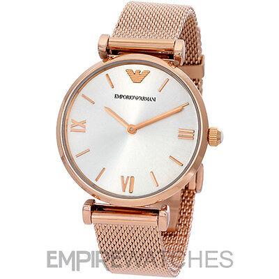 *NEW* EMPORIO ARMANI LADIES RETRO ROSE GOLD MESH WATCH - AR1956 - RRP £299