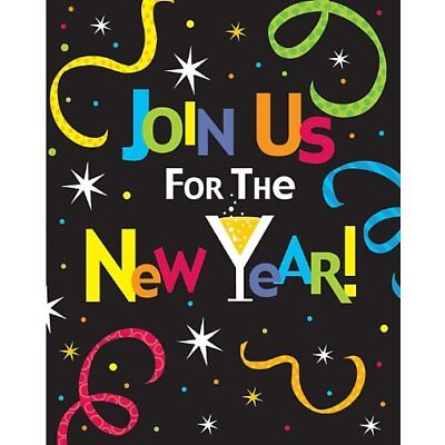 Join Us For New Years Eve Party Invitation Cards Set Of 8   5 X 4 Folded