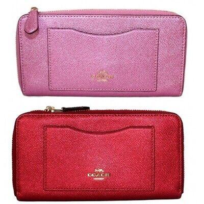 Coach Pink Metallic Zip Around Wallet Accordian Crossgrain Leather F21068