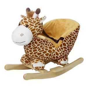 Kids Plush Rocker Baby Play Rocking Horse Style Giraffe Theme Ride On, w/ Sounds