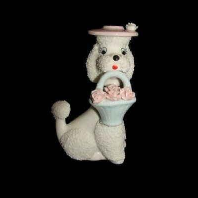 Vintage POODLE Night Light Oil Diffuser Figurine with Hat & Basket of Flowers