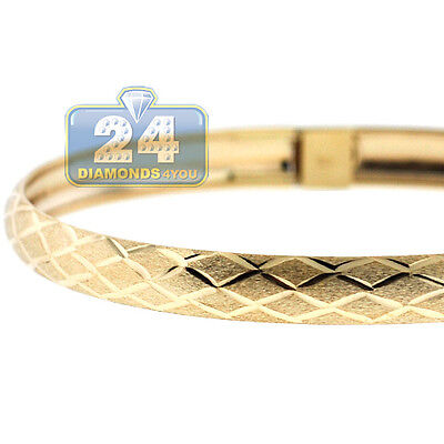 Solid 10K Yellow Gold Diamond Cut Bangle Womens Bracelet 6 mm 8 Inches