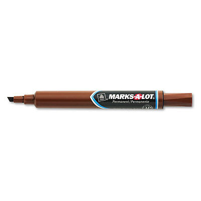 3 MARKS-A-LOT CHISEL TIP PERMANENT LARGE BROWN MARKER BOLD OR NARROW SIGNS -